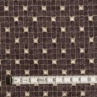 ポリエステル×チェック(レーズン&エクリュ)×ジョーゼット刺繍_全3色 サムネイル4