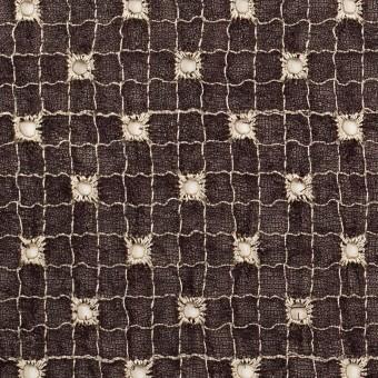ポリエステル×チェック(レーズン&エクリュ)×ジョーゼット刺繍_全3色