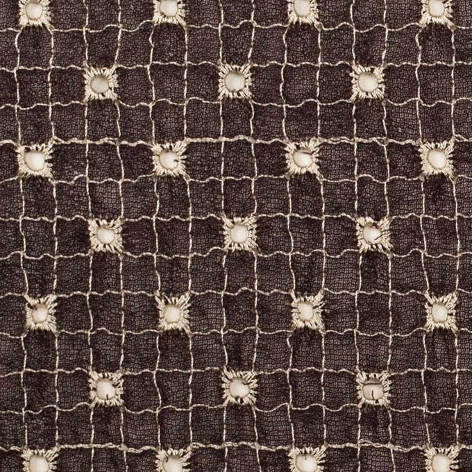 ポリエステル×チェック(レーズン&エクリュ)×ジョーゼット刺繍_全3色 イメージ1