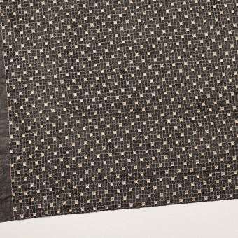 ポリエステル×チェック(ブラック&エクリュ)×ジョーゼット刺繍_全3色 サムネイル2