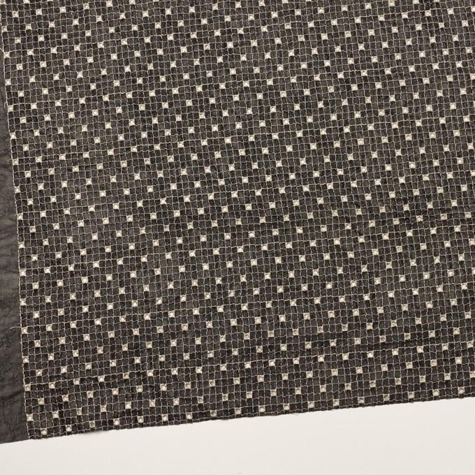 ポリエステル×チェック(ブラック&エクリュ)×ジョーゼット刺繍_全3色 イメージ2