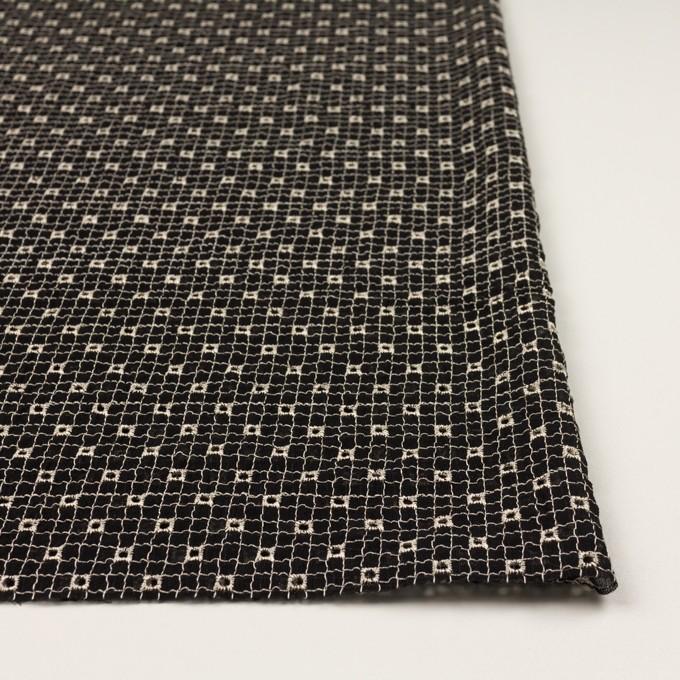 ポリエステル×チェック(ブラック&エクリュ)×ジョーゼット刺繍_全3色 イメージ3