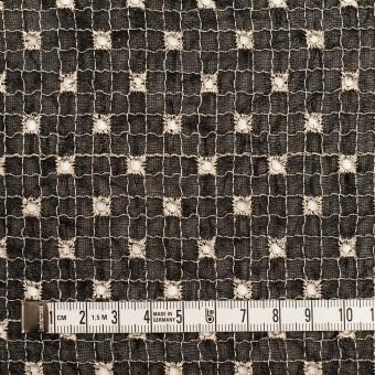 ポリエステル×チェック(ブラック&エクリュ)×ジョーゼット刺繍_全3色 サムネイル4