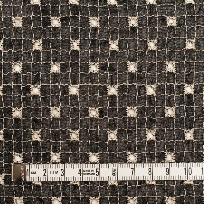 ポリエステル×チェック(ブラック&エクリュ)×ジョーゼット刺繍_全3色 イメージ4