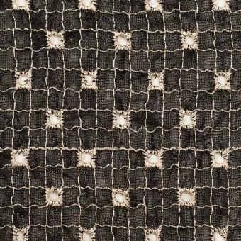 ポリエステル×チェック(ブラック&エクリュ)×ジョーゼット刺繍_全3色