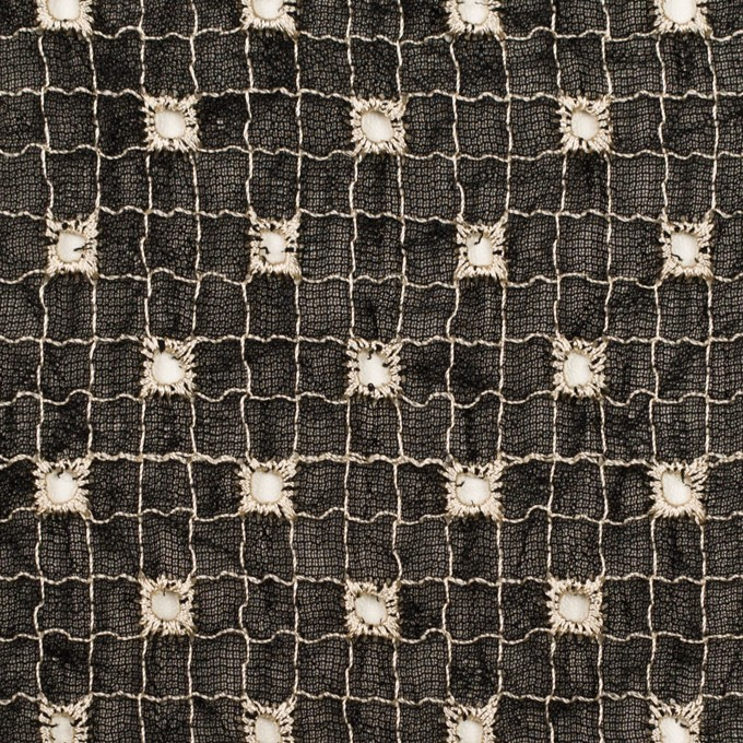 ポリエステル×チェック(ブラック&エクリュ)×ジョーゼット刺繍_全3色 イメージ1