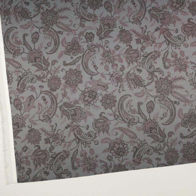 アセテート&ポリエステル×ペイズリー(スレートグレー)×サテン イメージ2