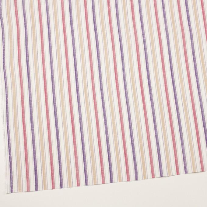 コットン&リネン×ストライプ(ベージュ、チェリー&パープル)×薄キャンバス・ジャガード_全2色 イメージ2