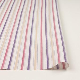コットン&リネン×ストライプ(ベージュ、チェリー&パープル)×薄キャンバス・ジャガード_全2色 サムネイル3