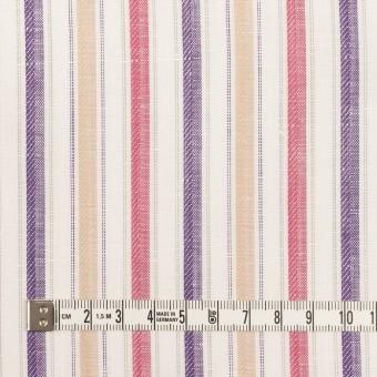コットン&リネン×ストライプ(ベージュ、チェリー&パープル)×薄キャンバス・ジャガード_全2色 サムネイル4