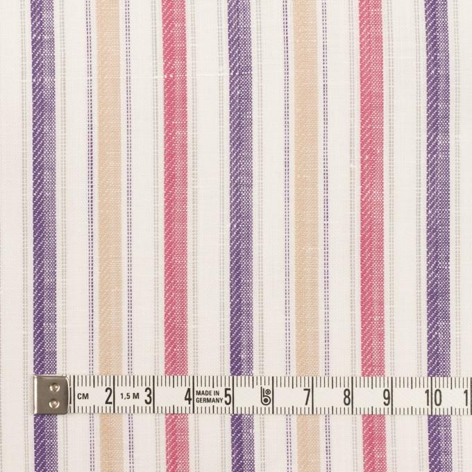 コットン&リネン×ストライプ(ベージュ、チェリー&パープル)×薄キャンバス・ジャガード_全2色 イメージ4