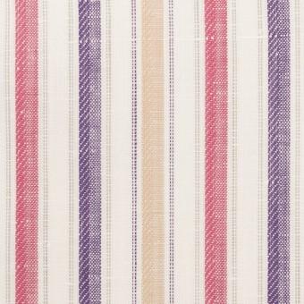 コットン&リネン×ストライプ(ベージュ、チェリー&パープル)×薄キャンバス・ジャガード_全2色