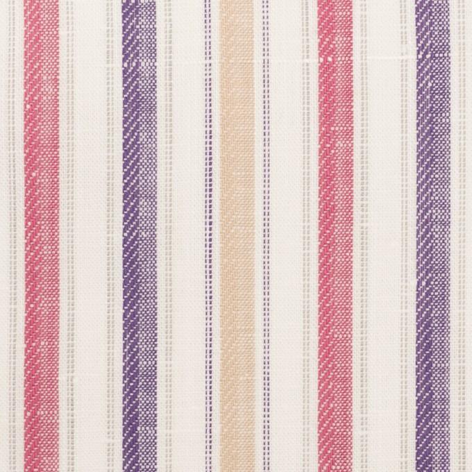 コットン&リネン×ストライプ(ベージュ、チェリー&パープル)×薄キャンバス・ジャガード_全2色 イメージ1