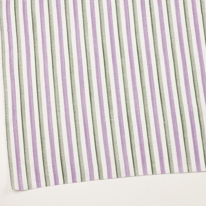 リネン&コットン×ストライプ(モーブ&カーキグリーン)×薄キャンバス・ジャガード イメージ2