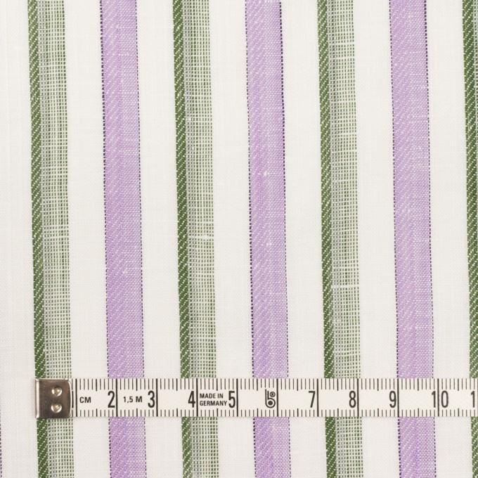 リネン&コットン×ストライプ(モーブ&カーキグリーン)×薄キャンバス・ジャガード イメージ4