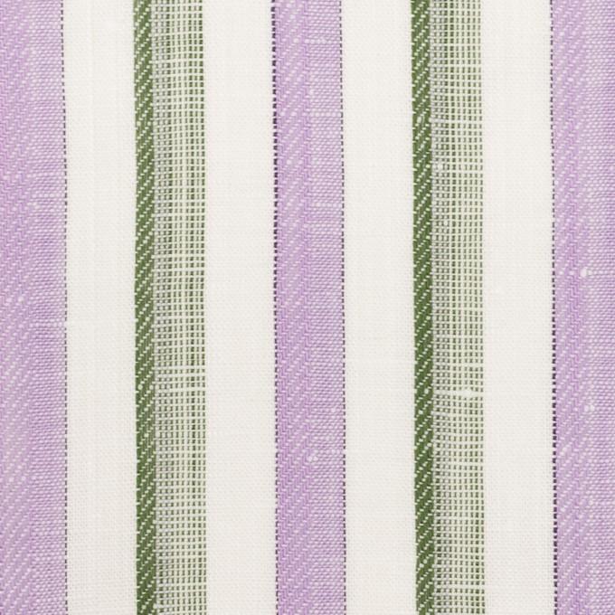 リネン&コットン×ストライプ(モーブ&カーキグリーン)×薄キャンバス・ジャガード イメージ1