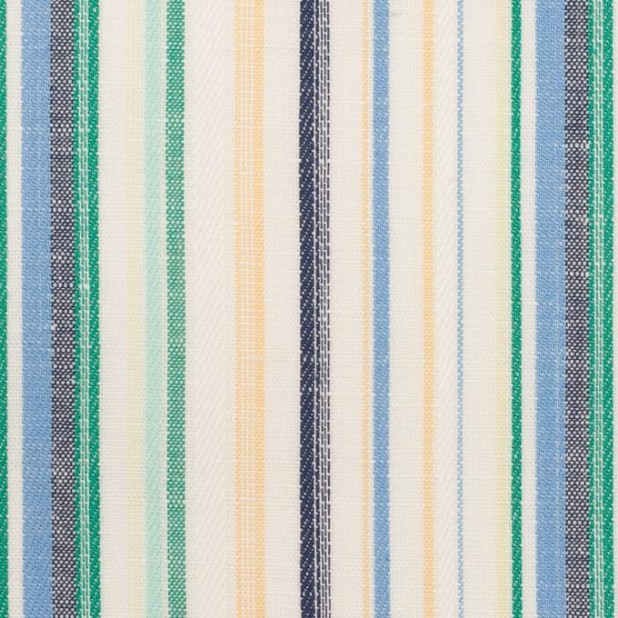 コットン&リネン×ストライプ(エメラルド、サックス&ネイビー)×薄キャンバス・ジャガード イメージ1