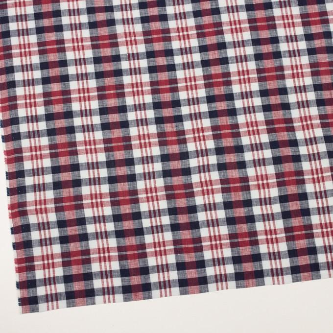 リネン×チェック(レッド&ダークネイビー)×薄キャンバス イメージ2