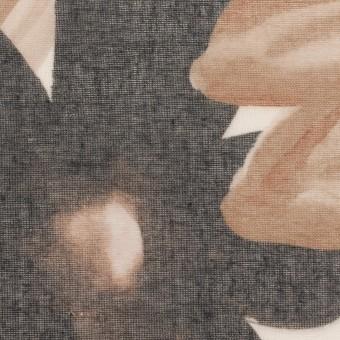 コットン&ポリエステル×フラワー(アッシュブラウン)×ボイル_全2色