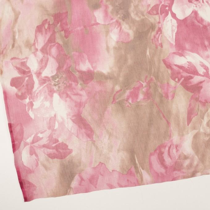 シルク×フラワー(ピンク)×クレープジョーゼット イメージ2