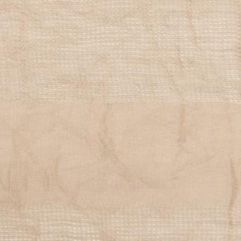コットン&リネン×ボーダー(ベージュ)×からみ織ワッシャー