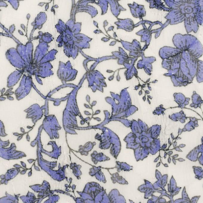 ポリエステル×フラワー(バイオレット)×ジョーゼット刺繍 イメージ1
