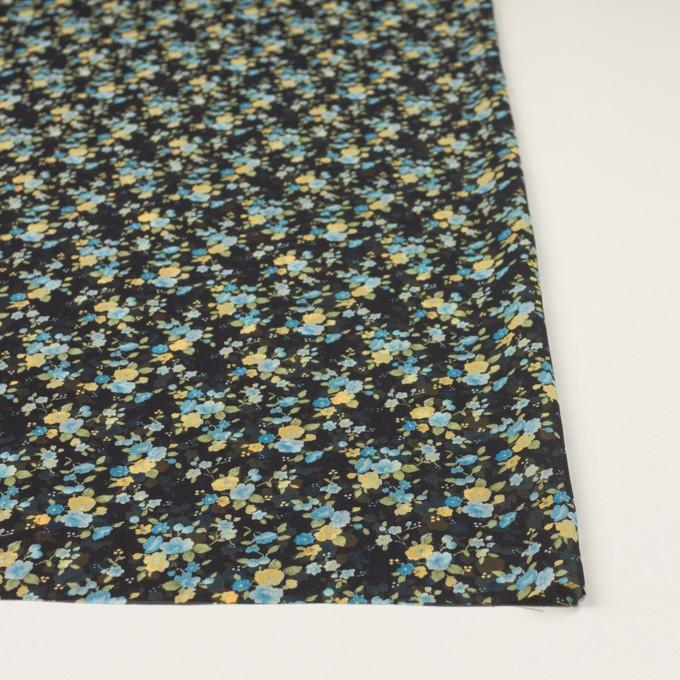 ポリエステル×フラワー(ブラック、イエロー&ブルー)×ジョーゼット イメージ3