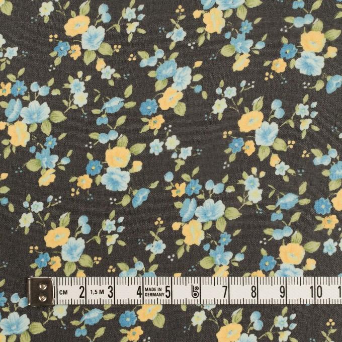 ポリエステル×フラワー(ブラック、イエロー&ブルー)×ジョーゼット イメージ4