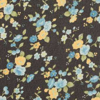ポリエステル×フラワー(ブラック、イエロー&ブルー)×ジョーゼット サムネイル1