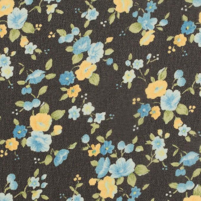 ポリエステル×フラワー(ブラック、イエロー&ブルー)×ジョーゼット イメージ1