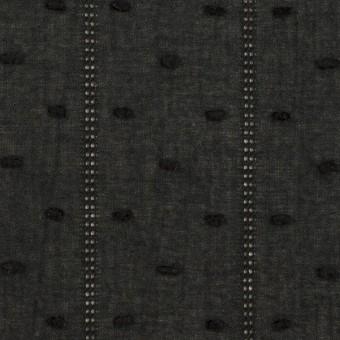 コットン×ストライプ&ドット(ブラック)×ボイルカット・ジャガード サムネイル1