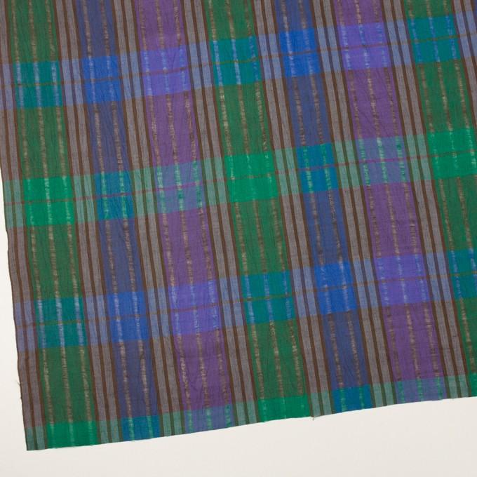 コットン&ラミー×チェック(グリーン&グレープ)×からみ織ボイル イメージ2