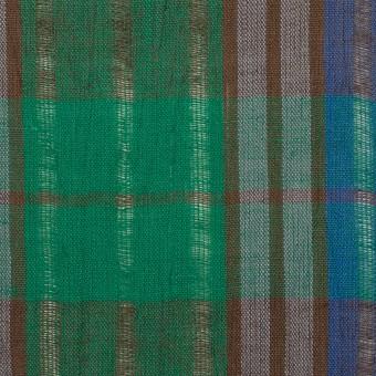 コットン&ラミー×チェック(グリーン&グレープ)×からみ織ボイル サムネイル1