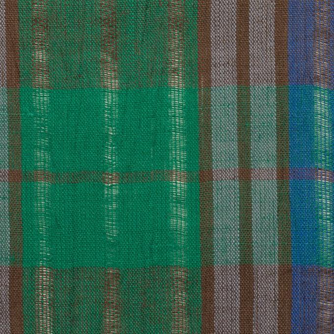 コットン&ラミー×チェック(グリーン&グレープ)×からみ織ボイル イメージ1