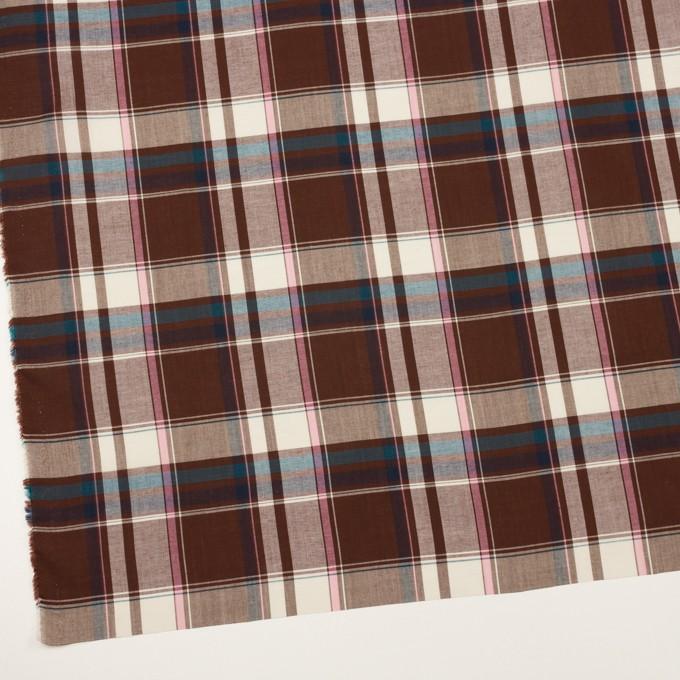 コットン&レーヨン×チェック(チョコレート、ピンク&ブルー)×ローン イメージ2