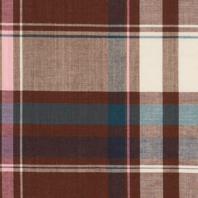 コットン&レーヨン×チェック(チョコレート、ピンク&ブルー)×ローン イメージ1