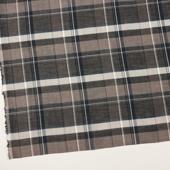 コットン&シルク×チェック(チャコールグレー)×オーガンジー イメージ2