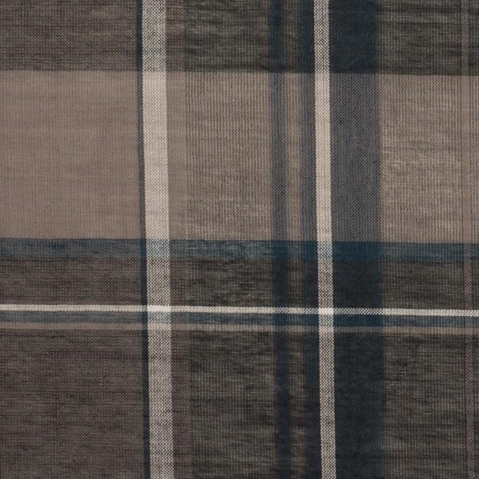 コットン&シルク×チェック(チャコールグレー)×オーガンジー イメージ1