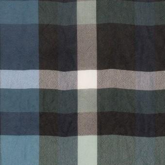 シルク&キュプラ×チェック(スレートグレー、ネイビー&ブラック)×ローンワッシャー