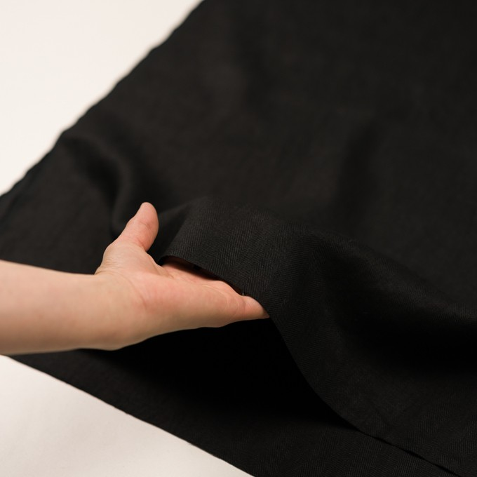 リネン×無地(ブラック)×ヘリンボーン イメージ5