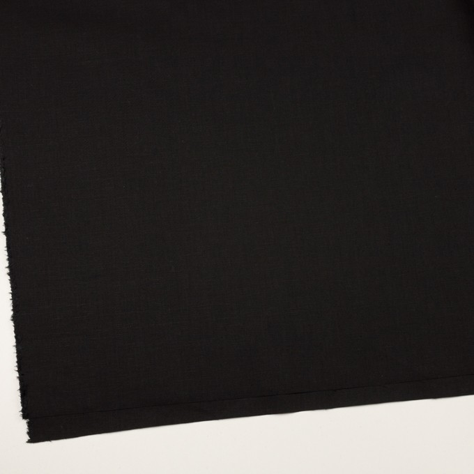 ポリエステル&リネン×無地(ブラック)×薄キャンバス・ストレッチ イメージ2