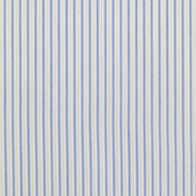 コットン&ポリエステル混×ストライプ(ヒヤシンスブルー&アボカド)×ローンストレッチ イメージ1