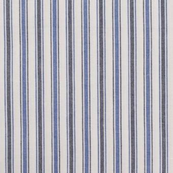 コットン×ストライプ(ブルー&チャコール)×タイプライター(高密ローン)・ワッシャー