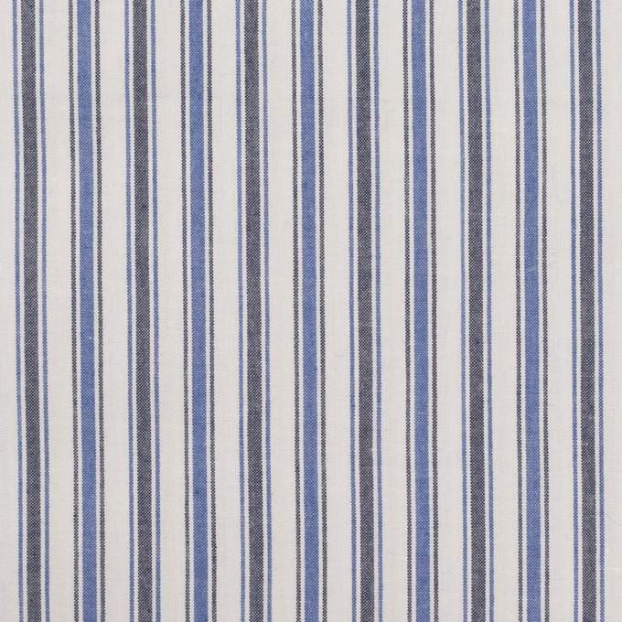 コットン×ストライプ(ブルー&チャコール)×タイプライター(高密ローン)・ワッシャー イメージ1