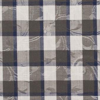 コットン×チェック(チャコールグレー&ネイビー)×ブロードジャガード_全2色 サムネイル1