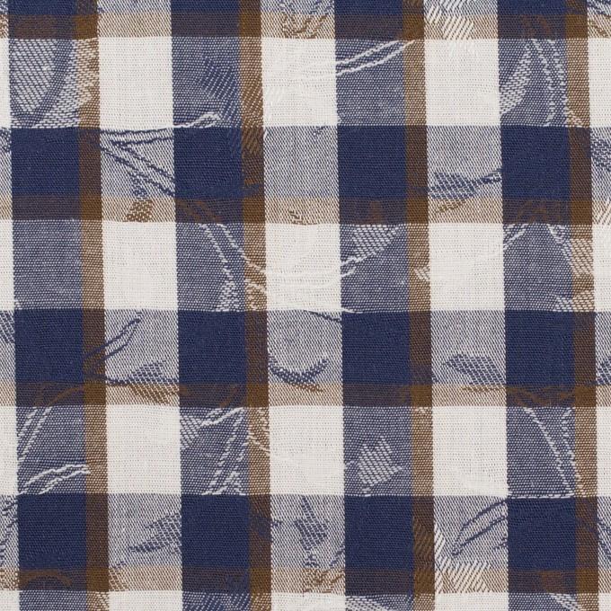 コットン×チェック(ネイビー&ブラウン)×ブロードジャガード_全2色 イメージ1