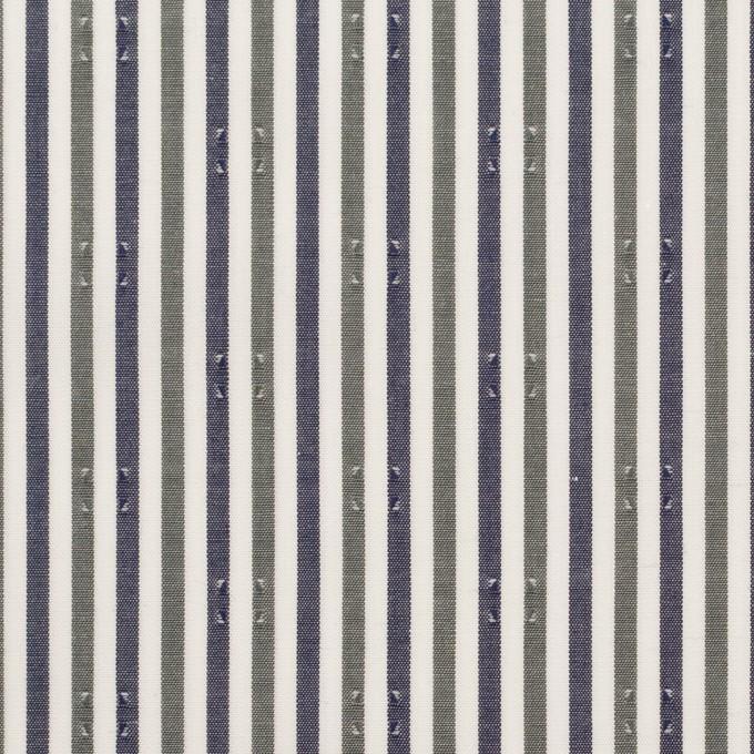 コットン×ストライプ(カーキグリーン&チャコール)×ブロード・ドビー_全2色 イメージ1