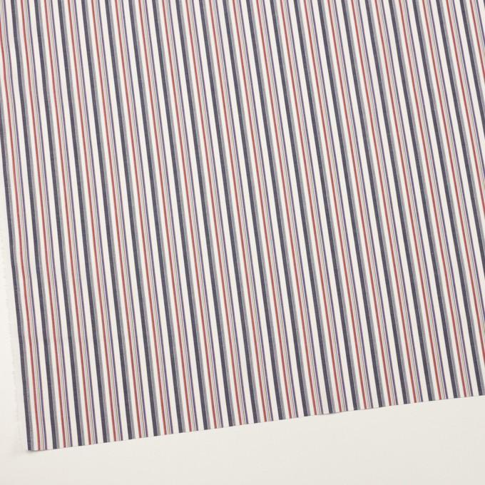 コットン×ストライプ(チャコール、レッド&ブルー)×ブロード_全2色 イメージ2