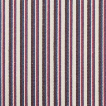 コットン×ストライプ(チェリー、ブルー&ブラウン)×ブロード_全2色 サムネイル1