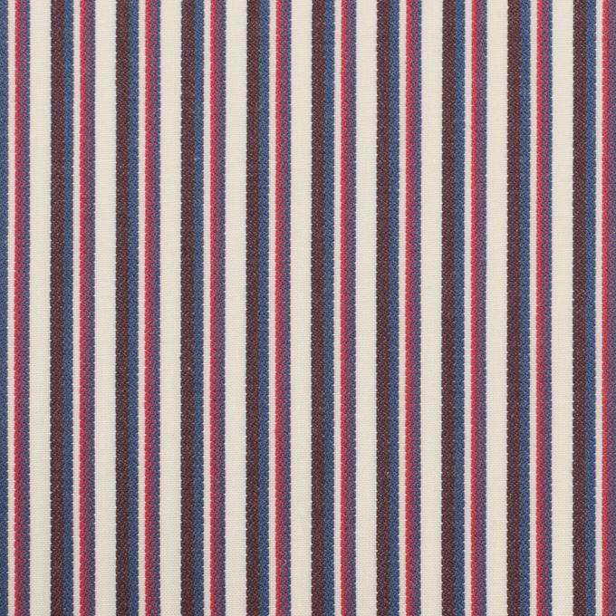 コットン×ストライプ(チェリー、ブルー&ブラウン)×ブロード_全2色 イメージ1